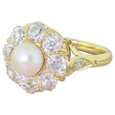 Victorian Natural Pearl & 2.00 Carat Old Cut Diamond Cluster, circa 1870