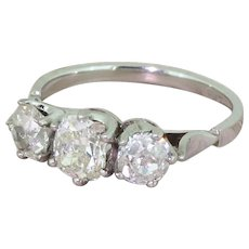 Art Deco 1.64 Carat Old Cut Diamond Trilogy Ring, circa 1945