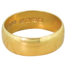 Art Deco 22k Yellow Gold Wedding Band, dated 1919