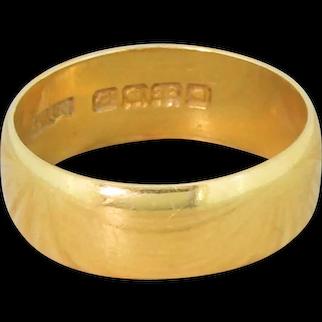 Art Deco 22k Yellow Gold Wedding Band, dated 1919