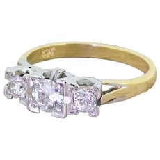 Mid Century 0.60 Carat Old Cut Diamond Trilogy Ring, circa 1960