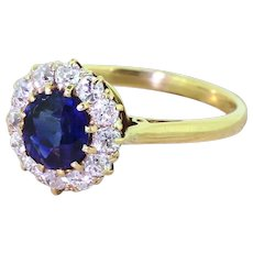 Victorian 1.40 Carat Natural Sapphire & Old Cut Diamond Cluster Ring, circa 1900
