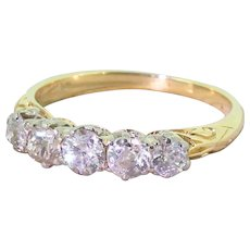 Victorian 1.00 Carat Old Cut Diamond Five Stone Ring, circa 1890