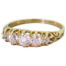 Victorian 0.65 Carat Old Cut Diamond Five Stone Ring, circa 1900