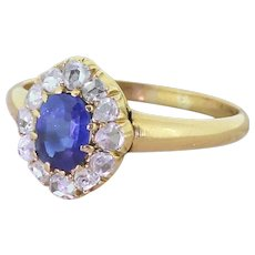 Victorian 0.70 Carat Sapphire & Rose Cut Diamond Cluster Ring, circa 1880