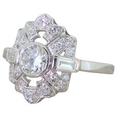 Art Deco 1.24 Carat Old Cut & Baguette Cut Diamond Shield Ring, circa 1930