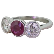 Art Deco 0.85 Carat Ruby & 1.70 Carat Old Cut Diamond Trilogy Ring, circa 1925