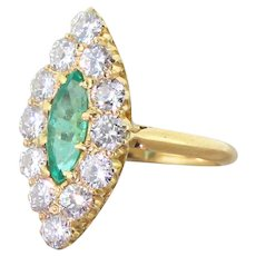 Mid Century Colombian Emerald & Diamond Navette Ring, circa 1960