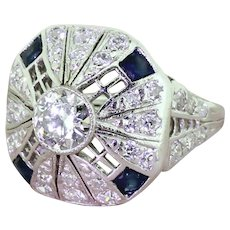 Art Deco 0.99 Carat Old European Cut Diamond & Sapphire Ring, circa 1940