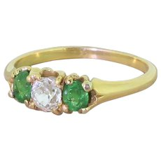 Victorian Old Cut Diamond & Demantoid Garnet Trilogy Ring, circa 1900