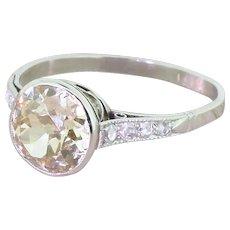 Art Deco 2.50 Carat Fancy Light Brown Old Cut Diamond Engagement Ring, circa 1935