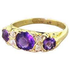 Victorian 1.35 Carat Amethyst & Old Cut Diamond Trilogy Ring, circa 1900