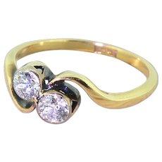 Art Deco 0.60 Carat Old Cut Diamond Crossover Ring, circa 1920