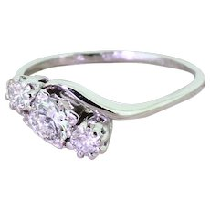 Art Deco 0.70 Carat Transitional Cut Diamond Trilogy Crossover Ring, circa 1940