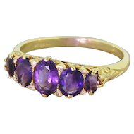 1.70 Carat Amethyst Five Stone Ring, 18k Yellow Gold