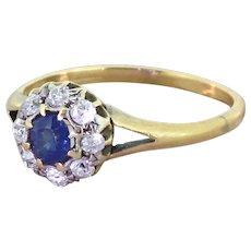 Victorian 0.30 Carat Sapphire & Old Cut Diamond Cluster Ring, circa 1900