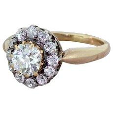 Victorian 1.40 Carat Old Cut Diamond Target Cluster Ring, circa 1880