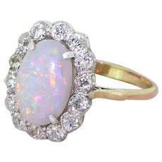 Art Deco Opal & Old Cut Diamond Oval Cluster Ring, circa 1920