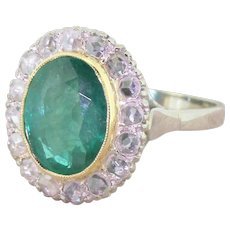 Art Deco 5.70 Carat Emerald & Rose Cut Diamond Cluster Ring, circa 1940