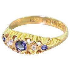 Edwardian Sapphire & Rose Cut Diamond Five Stone Ring, dated 1907
