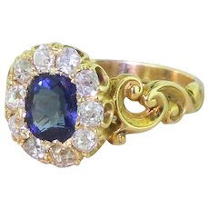 Victorian Cushion Cut Sapphire & Old Cut Diamond Cluster Ring, dated 1858