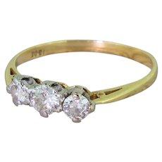 Art Deco 0.55 Carat Old Cut Diamond Three Stone Ring, circa 1930
