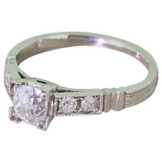 0.68 Carat Old Cut Diamond Engagement Ring, Platinum