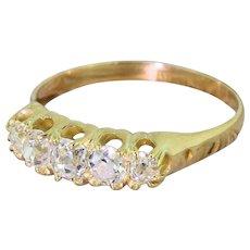 Victorian 1.15 Carat Old Cut Diamond Five Stone Ring, circa 1890