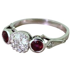 Art Deco 0.75 Carat Old Cut & Ruby Trilogy Ring, circa 1915