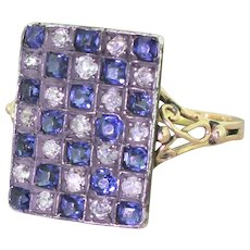 Edwardian Sapphire & Diamond Checkerboard Plaque Ring, circa 1905