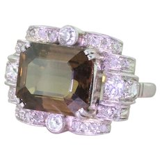 Art Deco 8.14 Carat Greenish Brown Sapphire Cocktail Ring, circa 1935