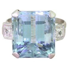 Retro 12.20 Carat Aquamarine Cocktail Ring, circa 1945