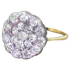 Victorian 1.96 Carat Old Cut Diamond Round Cluster Ring, circa 1870