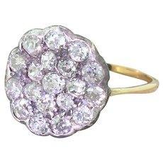 Victorian 1.96 Carat Old Cut Diamond Round Cluster Ring, circa 1870
