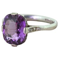 Art Deco 4.28 Carat Natural Purple Sapphire Ring, circa 1920