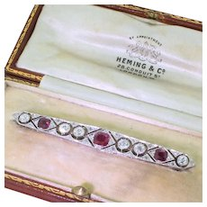 Art Deco Old Cut Diamond & Ruby Bar Brooch, circa 1915