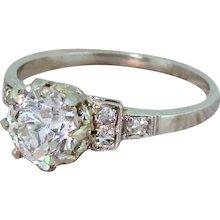 Art Deco 1.12 Carat Old Cut Diamond Engagement Ring, circa 1935