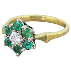 Mid Century 0.25 Carat Diamond & Emerald Cluster Ring, circa 1960