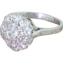 Mid Century 1.25 Carat Old Cut Diamond Cluster Ring, French, circa 1955
