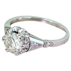 Art Deco 0.90 Carat Old Cut Diamond Engagement Ring, circa 1925