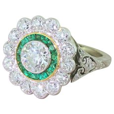 Art Deco 2.77 Carat Old Cut Diamond & Emerald Target Cluster Ring, circa 1940