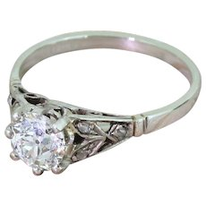Art Deco 0.91 Carat Old Cut Diamond Engagement Ring, circa 1935