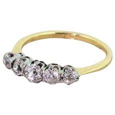 Art Deco 0.80 Carat Old Cut Diamond Five Stone Ring, circa 1940