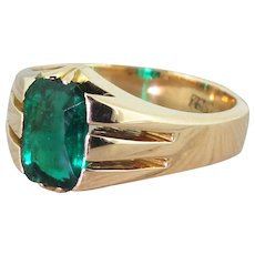Victorian 1.60 Carat Rectangular Cut Emerald Solitaire Ring, circa 1900
