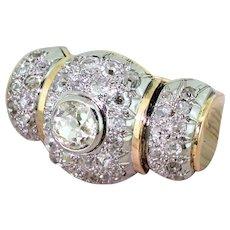 "Retro 1.70 Carat Old Cut Diamond ""Barrel"" Bombé Cluster Ring, circa 1955"
