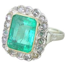 Art Deco 7.50 Carat Emerald & Rose Cut Diamond Cluster Ring, circa 1930