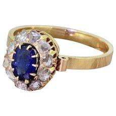 Art Deco 0.70 Carat Sapphire & Rose Cut Diamond Cluster Ring, circa 1920