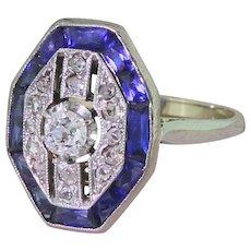 Art Deco Diamond & Calibré Cut Sapphire Ring, circa 1940
