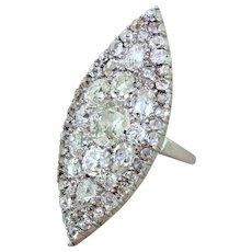 Art Deco 6.85 Carat Old Cut Diamond Navette Cluster Ring, circa 1925
