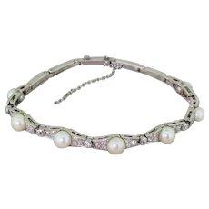 Mid Century Natural Saltwater Pearl & Diamond Bracelet, circa 1945